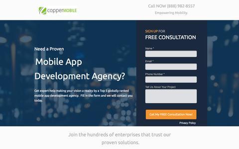 Screenshot of Landing Page coppermobile.com - Enterprise Mobile App Development Agency Dallas Texas - captured Feb. 22, 2017