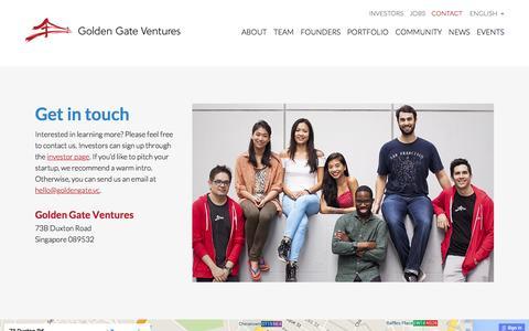 Screenshot of Contact Page goldengate.vc - Contact  |  Golden Gate Ventures - captured Jan. 20, 2016