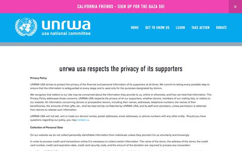 Screenshot of Privacy Page unrwausa.org - Privacy Policy — UNRWA USA - captured Oct. 8, 2017