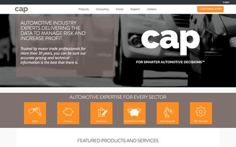 Screenshot of Home Page cap.co.uk - CAP Automotive Limited - Homepage - captured Feb. 9, 2016