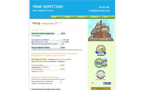 Screenshot of Pricing Page prime-inspect.com - PRIME INSPECTIONS - home inspection services - captured Sept. 30, 2016