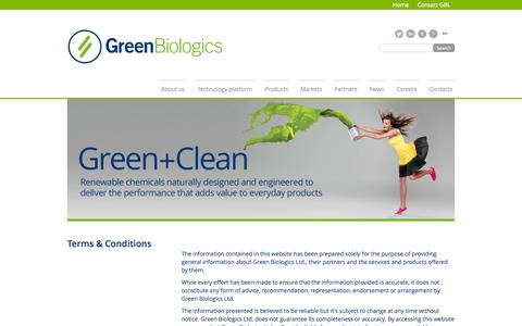 Screenshot of Terms Page greenbiologics.com - Terms & Conditions - captured Nov. 2, 2014