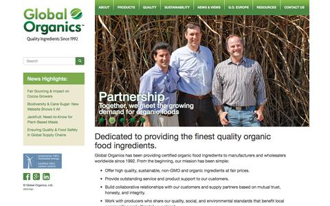 Screenshot of Home Page global-organics.com - Global Organics - Certified Organic Food Ingredients - Non-GMO Ingredients - captured Nov. 8, 2016