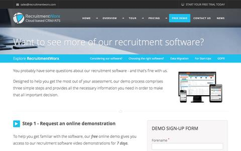 Screenshot of Trial Page Demo Page recruitmentworx.com - RecruitmentWorx - Try our Online Recruitment CRM Software Demo for Free - captured July 6, 2018