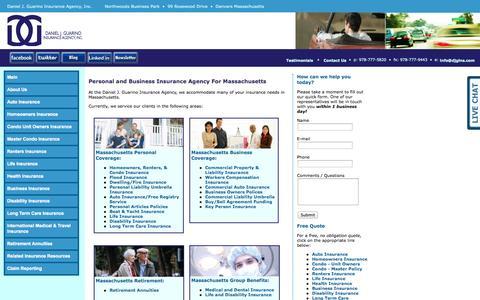 Screenshot of Home Page djgins.com - Massachusetts Insurance Agency – Daniel J. Guarino Insurance - captured Oct. 5, 2014