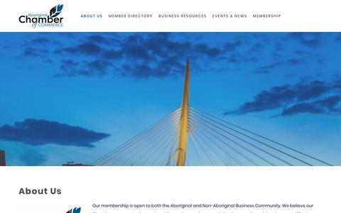 Screenshot of About Page aboriginalchamber.ca - About Us | Aboriginal Chamber of Commerce | Winnipeg, MB - ABORIGINAL CHAMBER OF COMMERCE - captured Oct. 25, 2018
