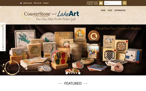 Screenshot of Home Page coasterstone.com - Absorbent Stone Drink Coaster Sets   Lake Gifts   Custom Lake Souvenirs by CoasterStone - captured Sept. 19, 2015