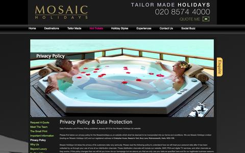 Screenshot of Privacy Page mosaicholidays.co.uk - Privacy Policy | Luxurious Holidays | Tailor Made Packages | Mosaic Holidays - captured Oct. 7, 2014