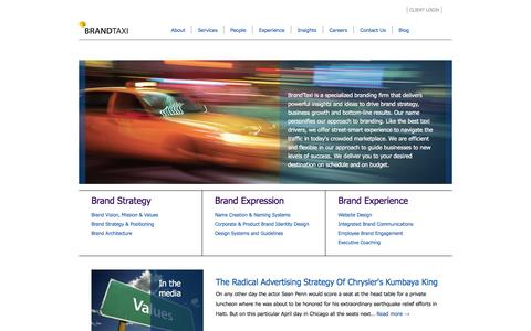Screenshot of Home Page brand-taxi.com - BrandTaxi – Developing Powerful Brands through Brand Strategy - captured Jan. 7, 2016