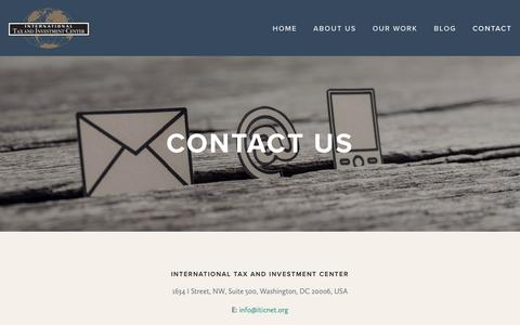 Screenshot of Contact Page iticnet.org - Contact — International Tax and Investment Center - captured Oct. 12, 2018