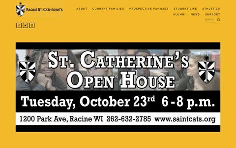 Screenshot of Home Page saintcats.org - Racine St. Catherine's - captured Oct. 18, 2018