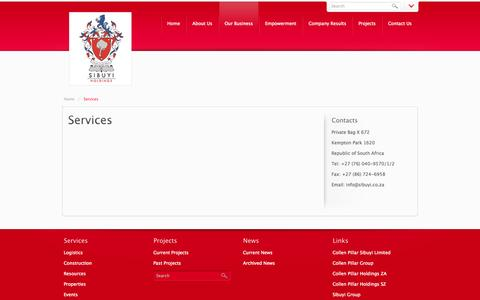 Screenshot of Services Page sibuyi.co.za - Services - captured Oct. 9, 2014