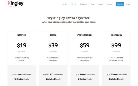Screenshot of Pricing Page xingley.com - Xingley - Pricing - captured Sept. 20, 2018