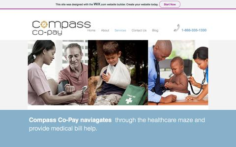 Screenshot of Services Page compasscopay.com - compass-co-pay   Services - captured July 20, 2018