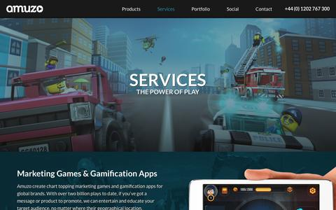 Screenshot of Services Page amuzo.com - Gamification Apps | Marketing Games | Amuzo - Power of Play - captured May 30, 2017