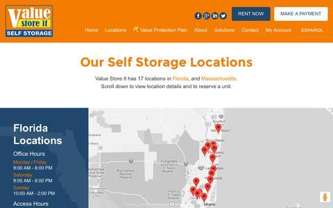 Screenshot of Locations Page valuestoreit.com - Rent Storage Units in Florida and Massachusetts   Value Store It - captured Nov. 2, 2018