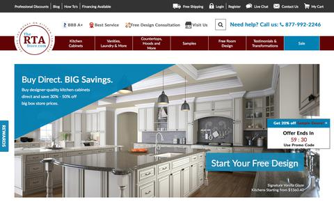 Screenshot of Home Page thertastore.com - RTA Cabinets Online - Cabinets For Less - The RTA Store - captured Sept. 13, 2018
