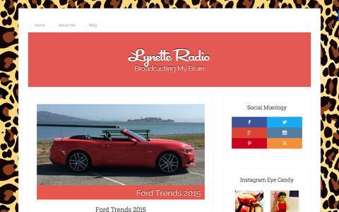 Screenshot of Home Page lynetteradio.com - lynette radio - broadcasting my brain - captured Sept. 21, 2015