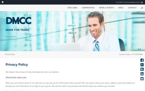 Screenshot of Privacy Page dmcc.ae - Privacy Policy | DMCC | Dubai Multi Commodities Centre - captured July 24, 2016