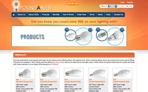 Screenshot of Products Page poundabulb.com - :: Welcome to POUNDABULB :: - captured Sept. 30, 2014