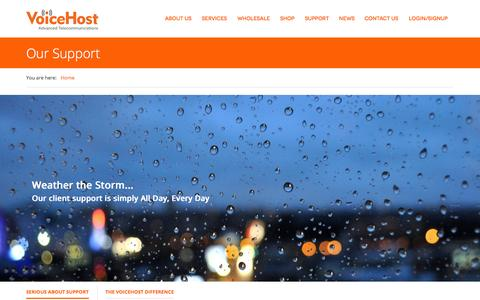 Screenshot of Support Page voicehost.co.uk - Our Support | VoiceHost VoIP Telecommunications - captured Oct. 30, 2014