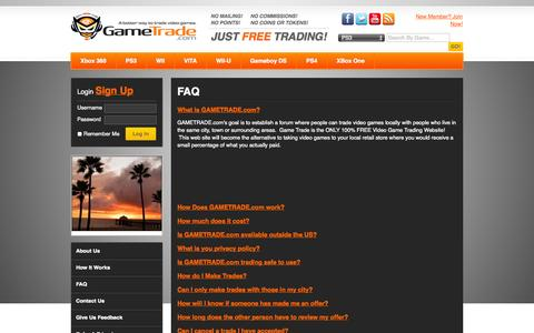 Screenshot of FAQ Page gametrade.com - Find Out The Facts Of How Game Trading Can Change Your Gaming Experience and Your Life - 100% Free game Trading Game Trade - captured Oct. 22, 2014