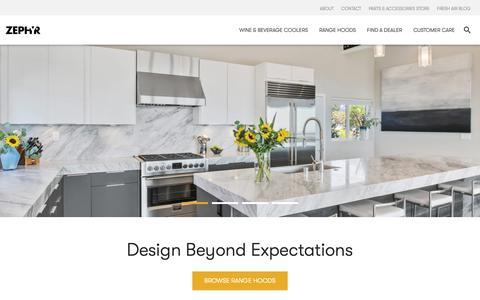 Screenshot of Home Page zephyronline.com - Range Hoods | Kitchen Ventilation | Wine Cooler Refrigeration - Zephyr - captured Oct. 20, 2018