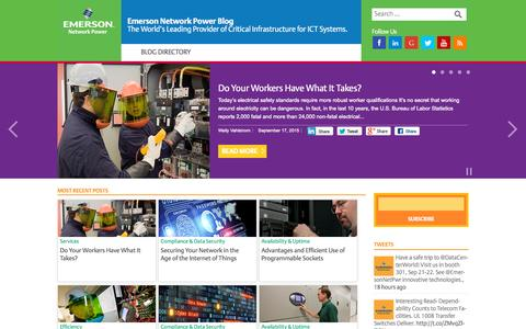 Screenshot of Blog emersonnetworkpower.com - Emerson Network Power Blog - The World's Leading Provider of Critical Infrastructure for ICT Systems - captured Sept. 20, 2015