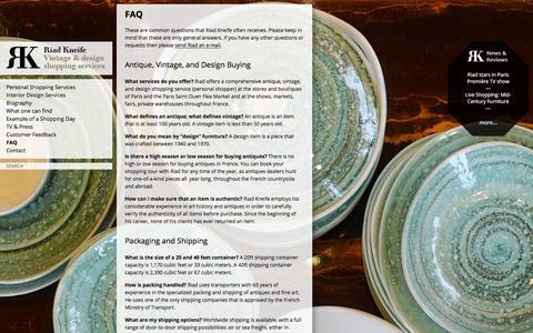 Screenshot of FAQ Page kneife.com - FAQ | Riad Kneife - captured Jan. 23, 2016