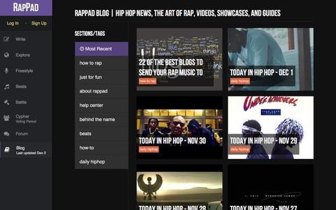 Screenshot of Blog rappad.co - We Make Better Rappers | News, Showcases, and Guides - RapPad - captured Dec. 2, 2015