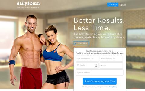 Screenshot of Home Page dailyburn.com - DailyBurn | The best fitness anywhere. - captured July 17, 2014