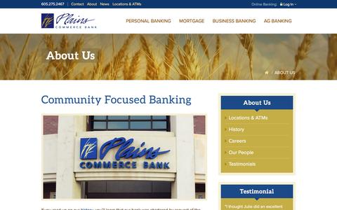 Screenshot of About Page plainscommerce.com - About Us | Plains Commerce Bank - captured Nov. 7, 2016
