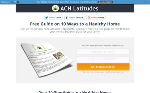 Screenshot of Signup Page latitudes.org - ACN Latitudes Newsletter - Free Healthy Home Guide! - captured Feb. 4, 2016