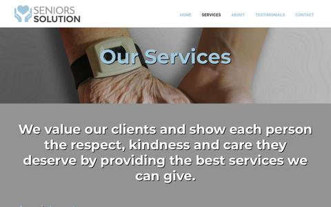 Screenshot of Services Page seniors-solution.com - Services | Seniors Solution | Ottawa, ON - captured Nov. 7, 2018