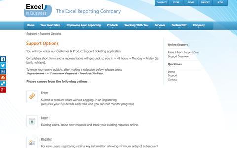 Screenshot of Support Page excelinbusiness.com - Excel in Business - Services - Online Support - Support Options - captured Sept. 30, 2014