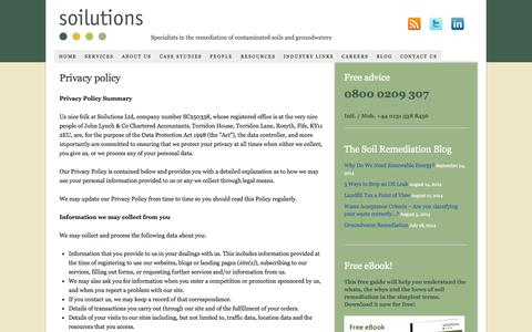 Screenshot of Privacy Page soilutions.co.uk - Privacy policy - captured Oct. 9, 2014