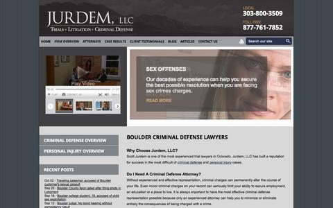 Screenshot of Home Page jurdem.com - Criminal Defense Attorney & Personal Injury Lawyer| Boulder, Colorado - captured Oct. 6, 2014