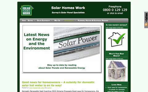 Screenshot of Press Page solarhomeswork.co.uk - Latest News on Solar Energy and Climate Change | Solar Homes Work - captured Oct. 7, 2014