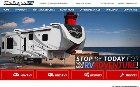 Screenshot of Home Page muskegonrv.com - Muskegon RV Dealer in MI | Travel Trailers, 5th Wheels & Toy Haulers - captured Feb. 3, 2018