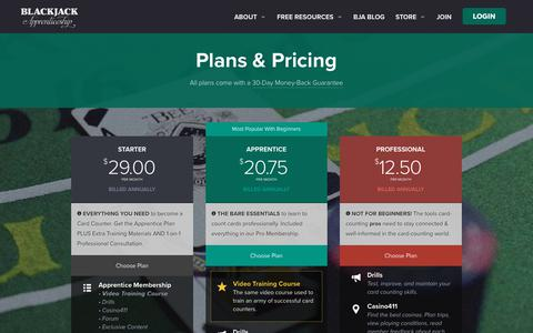 Screenshot of Signup Page blackjackapprenticeship.com - Plans And Pricing - Blackjack Apprenticeship - captured June 1, 2017