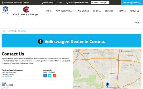 Screenshot of Contact Page Maps & Directions Page cardinalewayvw.com - Contact CardinaleWay Volkswagen in Corona California - captured May 1, 2016