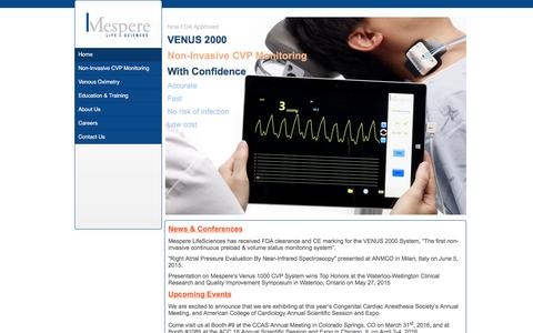 Screenshot of Home Page mespere.com - Non-Invasive Hemodynamic Monitoring - Mespere Lifesciences - captured Feb. 12, 2016