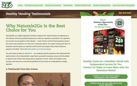 Screenshot of Testimonials Page naturals2go.com - Respected Vending Company | Top Rated Healthy Vending Company | Naturals2Go Healthy Vending - captured July 29, 2017
