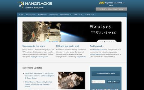 Screenshot of Home Page nanoracks.com - NanoRacks | Space 4 Everyone | Begin Your Journey Here... - captured July 17, 2014