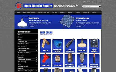 Screenshot of Home Page beckelectric.com - Beck Electric Supply, Industrial, Marine, Entertainment, Electrical Products Distribution! - Beck Electric Supply - Beck Electric Supply - captured Oct. 5, 2018