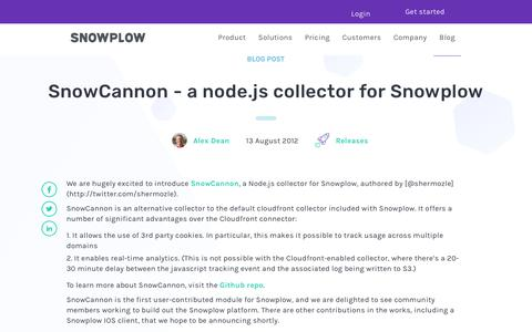 Screenshot of Blog snowplowanalytics.com - SnowCannon - a node.js collector for Snowplow - captured Feb. 10, 2020
