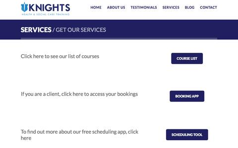 Screenshot of Services Page knights-agency.com - Training, Booking and Scheduling Services | Knights Agency - captured Aug. 9, 2016