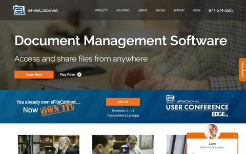 Screenshot of Home Page efilecabinet.com - Document Management Software (DMS) for Small Business - captured Nov. 3, 2015