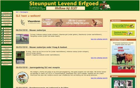 Screenshot of Home Page sle.be - Steunpunt Levend Erfgoed vzw - captured April 12, 2018