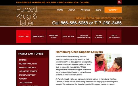 Screenshot of Support Page pkhfamilylaw.com - Harrisburg Child Support Attorney | Child Support Guidelines Hershey Pennsylvania | Child Support Payment York PA Lawyer - captured Oct. 9, 2014